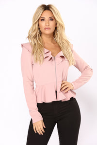 Romantic Thoughts Ruffle Jacket - Dusty Pink