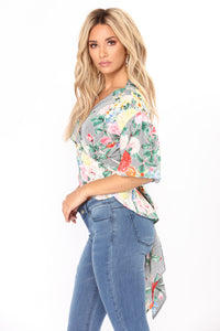 Des Roses Floral Top - Navy Multi