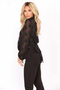 After Thought Polka Dot Top - Black
