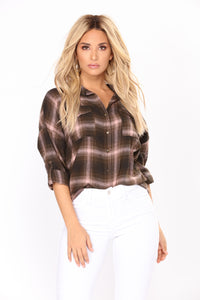 Patrica Plaid Top - Olive/Blush