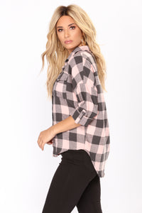 Played My Heart Plaid Top - Pink