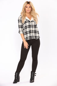 Lena Plaid Top - Ivory/Black