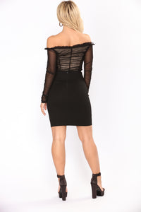 Vintage Music Mesh Bodysuit - Black