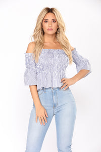 Elicia Smocked Top - Navy/White