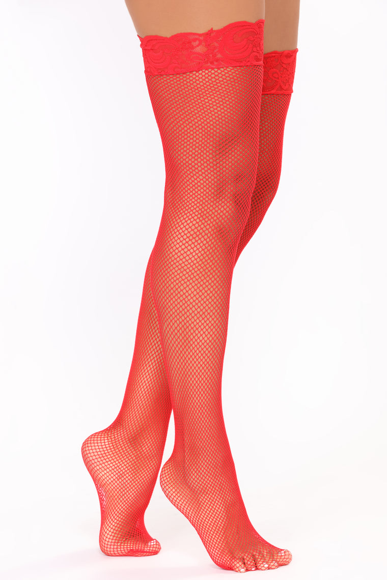 Love Lace Thigh Highs - Red