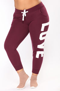 Love Print Lounge Joggers - Plum