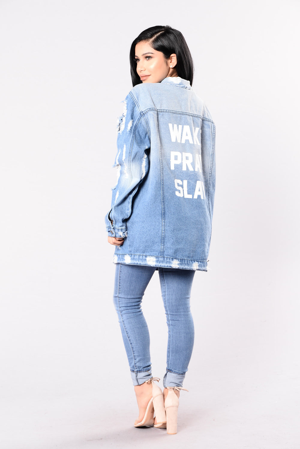 That's The Motto Jacket - Light Blue