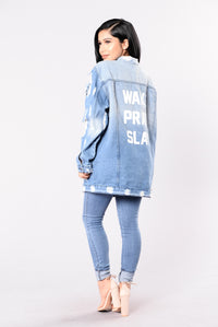That's The Motto Jacket - Light Blue Angle 7