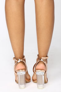 Clear Love Heel - Rose Gold