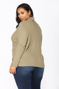 Snug As A Bug Waffle Knit Top - Olive