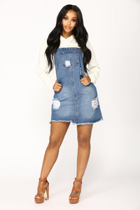 Country Song Overall Dress - Blue Angle 1