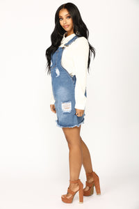 Country Song Overall Dress - Blue Angle 3