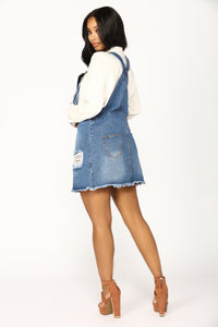 Country Song Overall Dress - Blue Angle 4