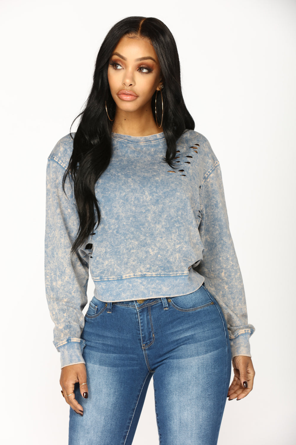 Florina Acid Wash Sweatshirt - Blue