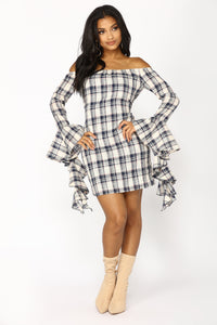 Gone Camping Plaid Dress - Navy/Ivory