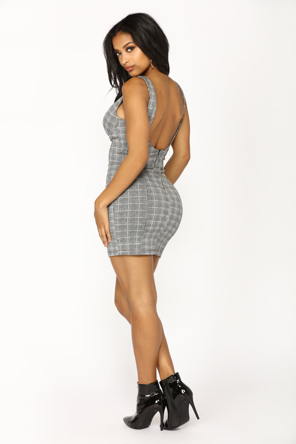 Reality Check Plaid Dress - Black/White
