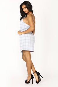 Part Time Plaid Dress - Light Blue