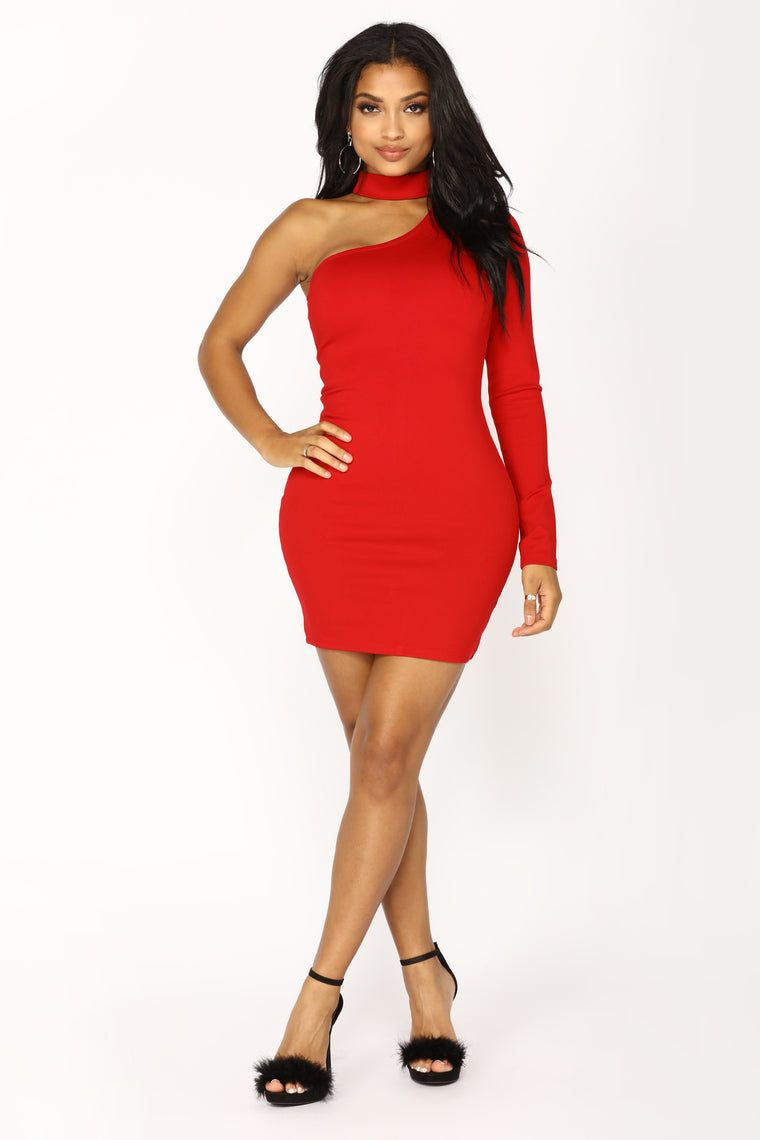 Picture This One Shoulder Dress - Red