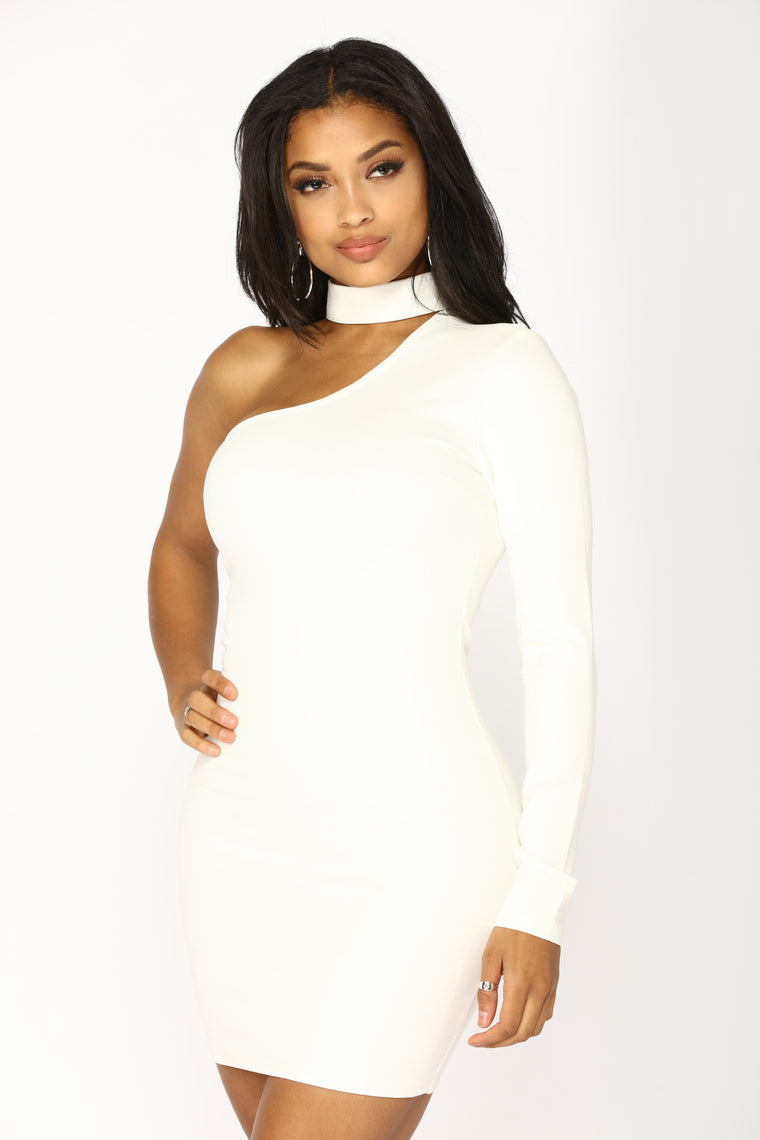 Picture This One Shoulder Dress - Ivory