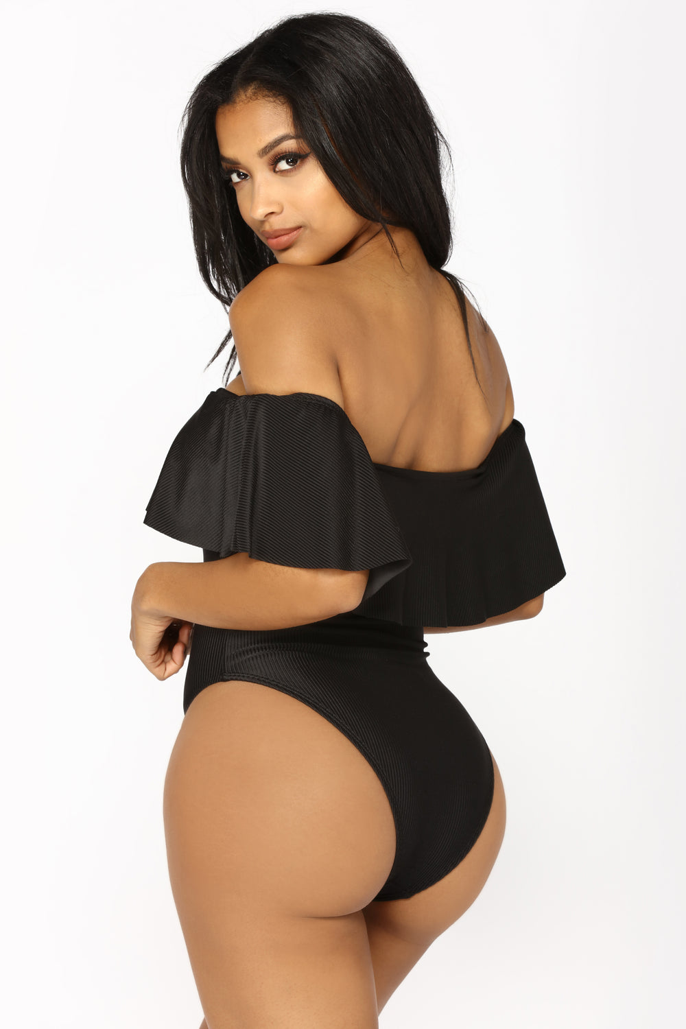 Flounce With It Swimsuit - Black