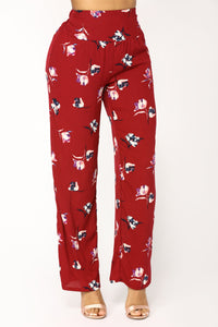 Catalina Floral Pants - Burgundy