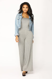 Breanne Tube Jumpsuit - Heather Grey