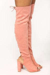 Peep These Over The Knee Boot - Blush