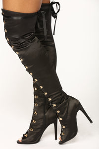 Satin Smooth Over The Knee Boot - Black