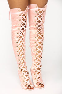 Satin Smooth Over The Knee Boot - Blush