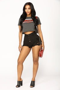 Who Do You Love Denim Shorts - Black