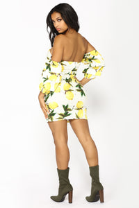 Lemon Zest Off Shoulder Dress - Ivory/Yellow