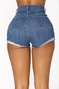 Outsider Distressed Denim Shorts - Medium Blue Wash