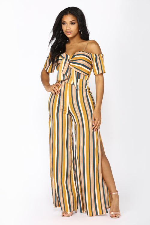 Park View Striped Jumpsuit - Mustard