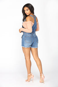 Cali Denim Shortalls - Medium Blue Wash
