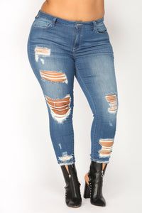 Bratty Distressed Ankle Jeans - Medium Blue Wash