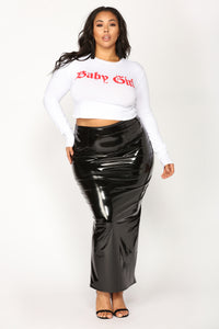 My Baby Girl Crop Top - White/Red