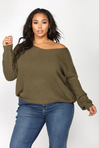 Got My Back Lace Up Sweater - Olive Angle 7