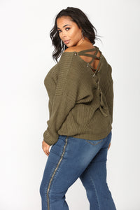 Got My Back Lace Up Sweater - Olive Angle 6