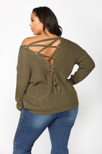 Got My Back Lace Up Sweater - Olive Angle 8