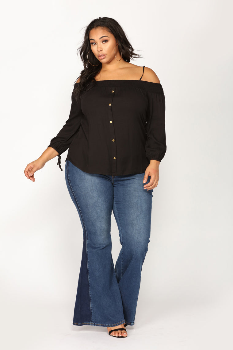 Hidden Affections Off Shoulder Top - Black