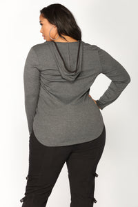 Florencia Hooded Top - Charcoal