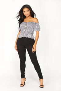 Zaina Off Shoulder Top - Black/White