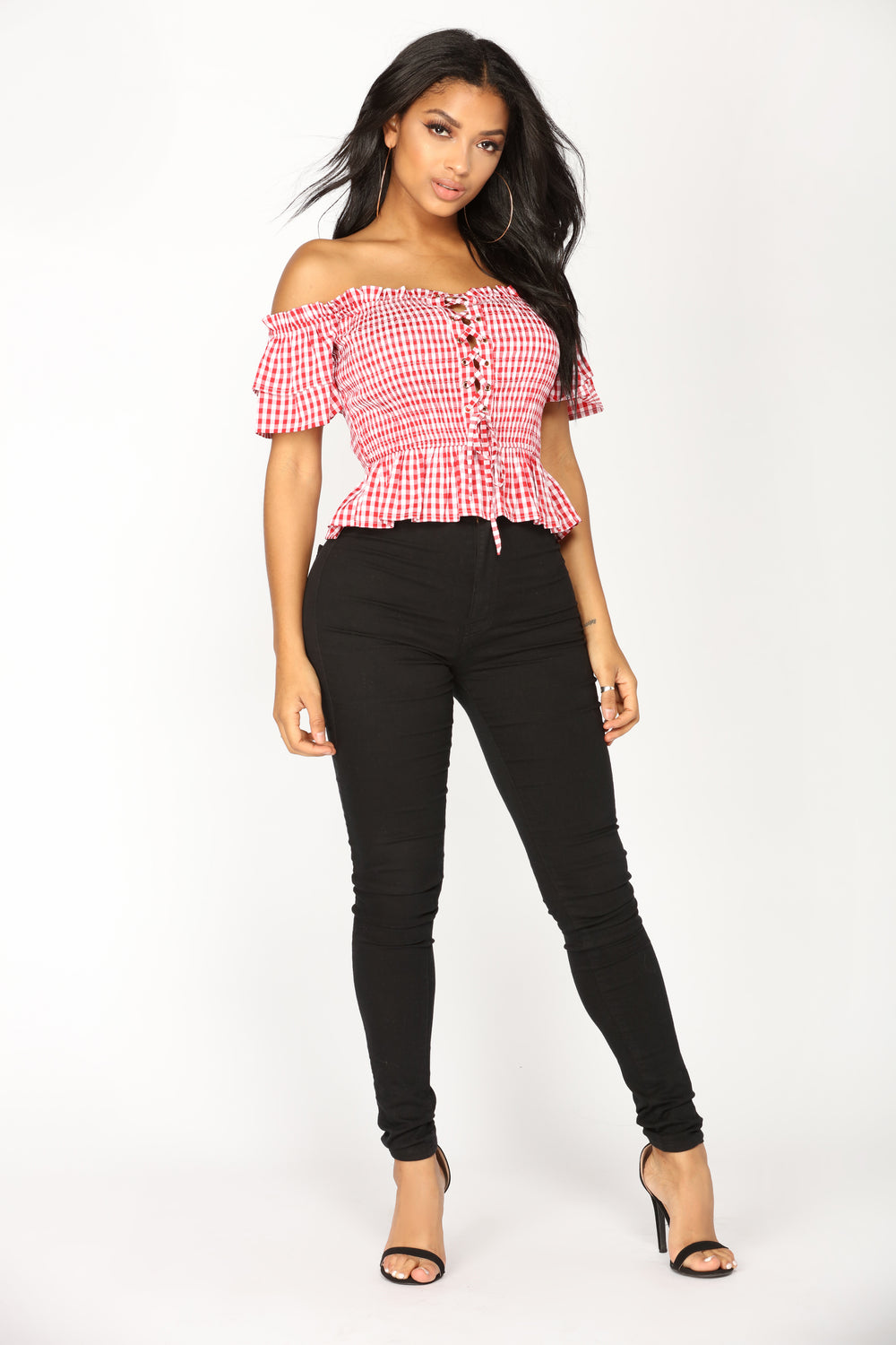 Zaina Off Shoulder Top - Red/White