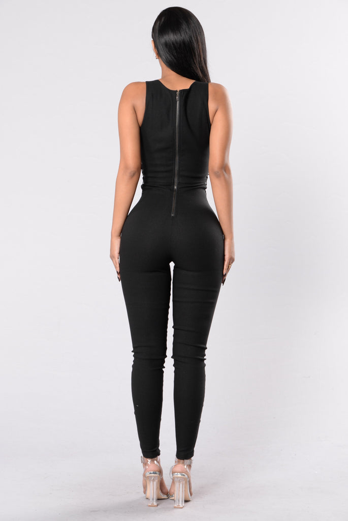 Got It On Lock Jumpsuit - Black