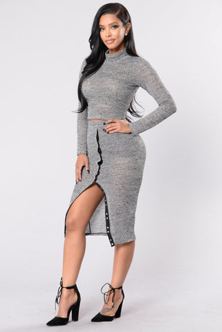 Snap Out Of It Skirt-Grey