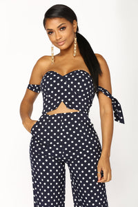 Dotted Line Jumpsuit - Navy
