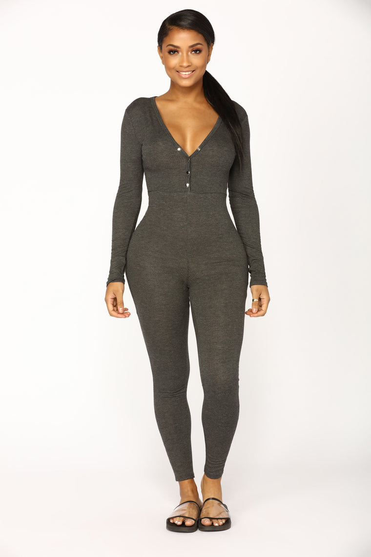 Fleeting Love Henley Jumpsuit - Charcoal