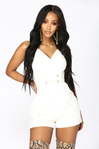 Push My Buttons Romper - White