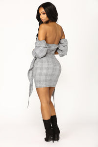 Work Hours Plaid Dress - Black/White
