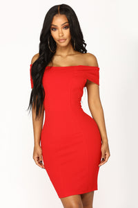 Gifted Off Shoulder Dress - Red